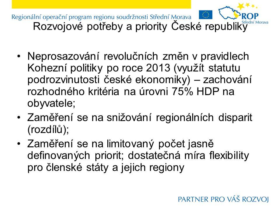Rozvojové potřeby a priority České republiky Základní typy priorit: konvergenční, rozvojové (EU 2020); navíc priority sociálního typu – Odpověď: Na co .