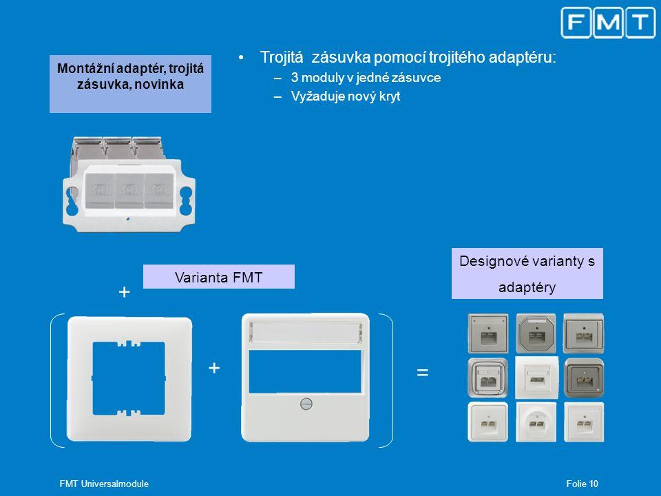 Folie 11 FMT Universalmodule Montážní adaptér pro DIN lišty Montáž na DIN lištu pomocí REG – adaptéru –Kompatibilní s normovanou DIN lištou –Vždy zabírá šíři jednoho modulu (TE = 18mm) –Ochrana krytím ve třídě II (při montáži bez připojení na ochranou soustavu)