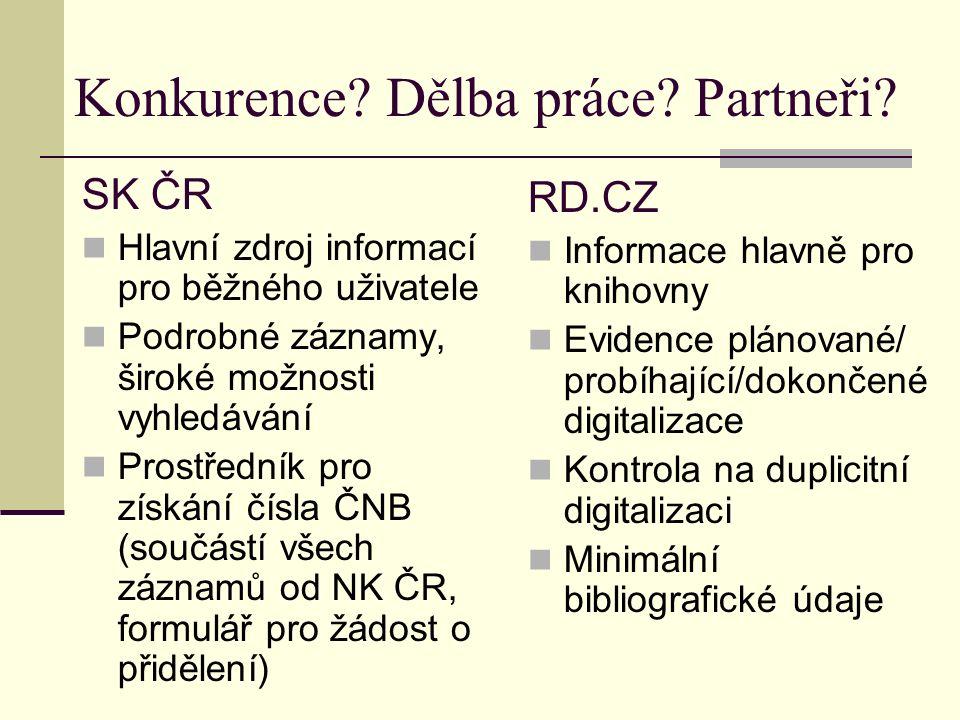 RD.CZ=klíčové místo pro knihovny http://www.registrdigitalizace.cz/