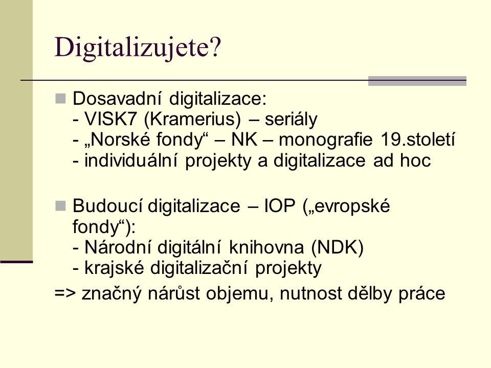 """Informační stránky o digitalizaci v ČR Kramerius: http://kramerius-info.nkp.cz/ (též přehled """"lokálních krameriů ) http://kramerius-info.nkp.cz/ Národní digitální knihovna (NDK): http://www.ndk.cz http://www.ndk.cz"""