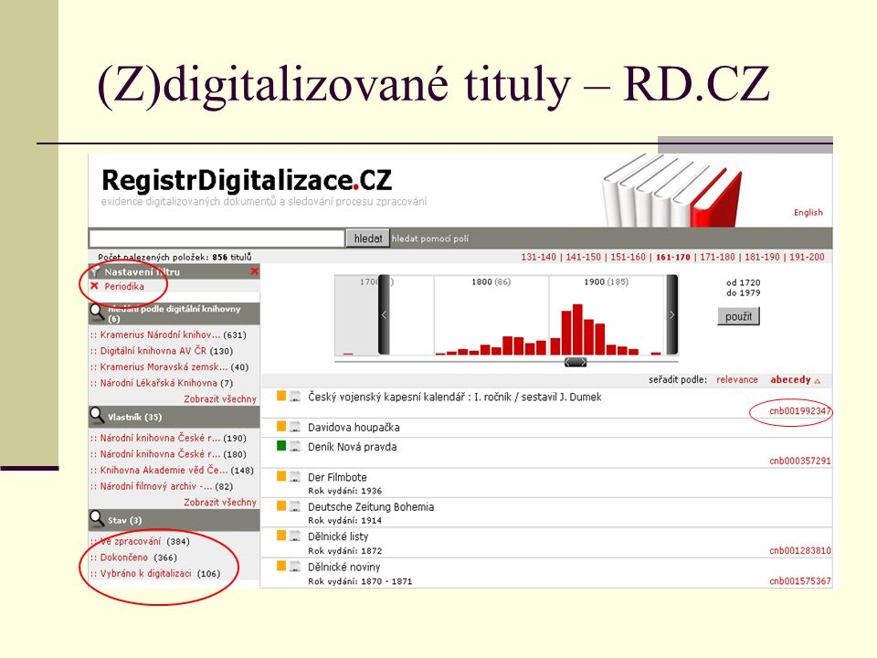 """Stav digitalizace seriálů RD: 856 titulů - zdigitalizováno: 366 - digitalizuje se/nahlášeno: 384+106=490 SKC (= pole 85641/911 """"kramerius ): 381 Kramerius (= různí """"krameriové ): 320(NK/SLK)+405(jiné) = 725 -neodpovídá zcela evidenci v CZ-ROMM => podchycení není dobré, část titulů je jen v některém ze zdrojů – nutná spolehlivá centrální evidence!"""