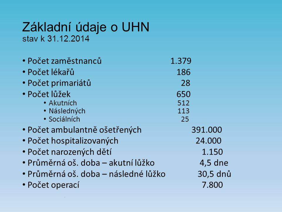 Základní ekonomické údaje UHN a.s.20142015 Výnosy 1.088 mil.