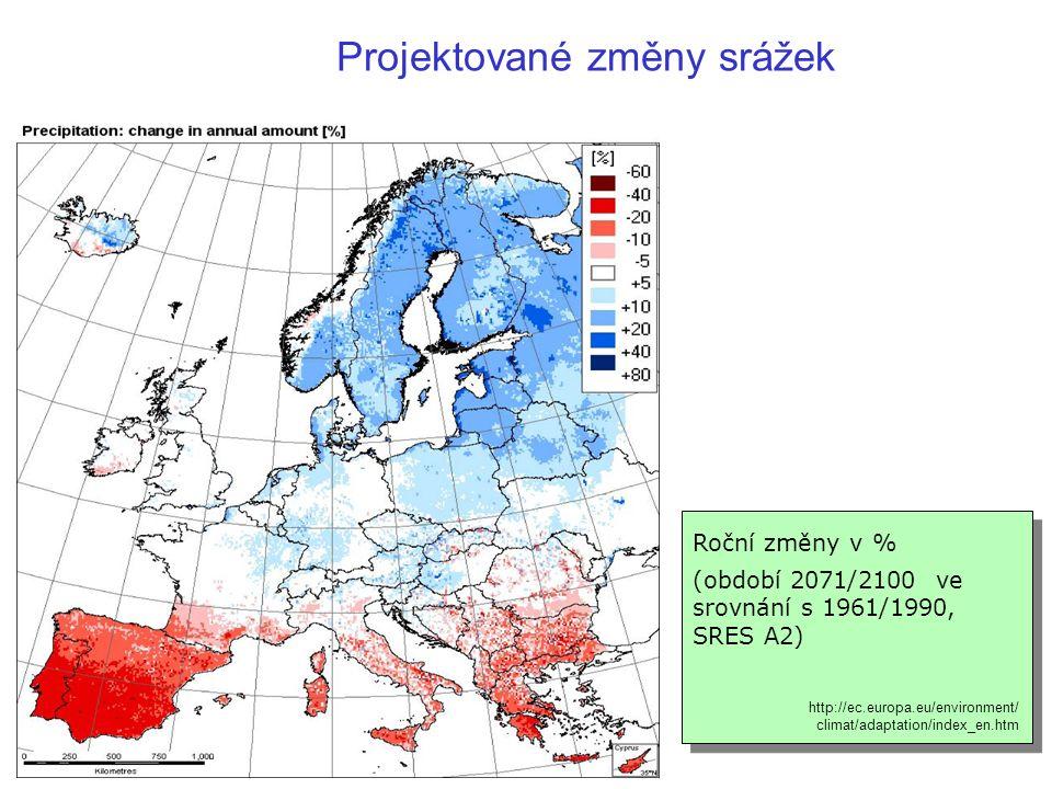 Index vážnosti sucha (již červená znamená extrémní sucho) (22 modelů při vývoji dle SRES A1B) (Dai, 2010: Drought under global warming: a review)Drought under global warming: a review