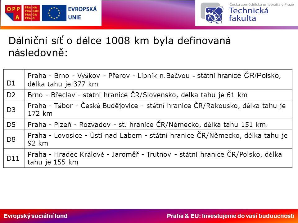 Evropský sociální fond Praha & EU: Investujeme do vaší budoucnosti Silnice – druh silniční komunikace spojující zastavěné oblasti, města, rekreační oblasti.