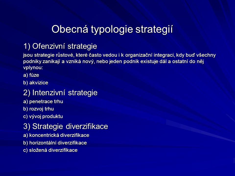 4) Defenzivní strategie a) společný podnik (joint venture) b) omezení c) prodej části firmy d) likvidace 5) Marketingové strategie 6) Strategické aliance 7) Nadnárodní podniky Obecná typologie strategií