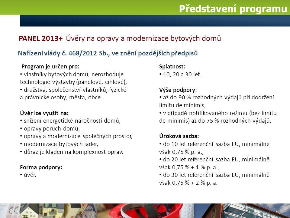 Panel 2013+ v číslech Stav programu k 14.7. 2016: počet žádostí: 5 za 19,9 mil.