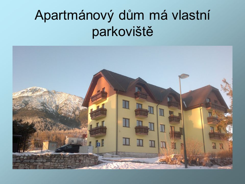 Ceny apartmánů pro rok 2016 typ apartmánupočet osobKč/den/apartmánKč/týden/apartmán Apartmán STANDARD2 1372,- 9604,- Apartmán KOMFORT* 2 1932,- 13524,- Apartmán KOMFORT 2+2 2212,- 15484,- Přistýlka**1 280,- 1960,- * V případě obsazení apartmánu Komfort 2+1 bude přistýlka poskytnuta bezplatně ** v případě požadavku na dětskou postýlku, bude tato zabezpečena bezplatně