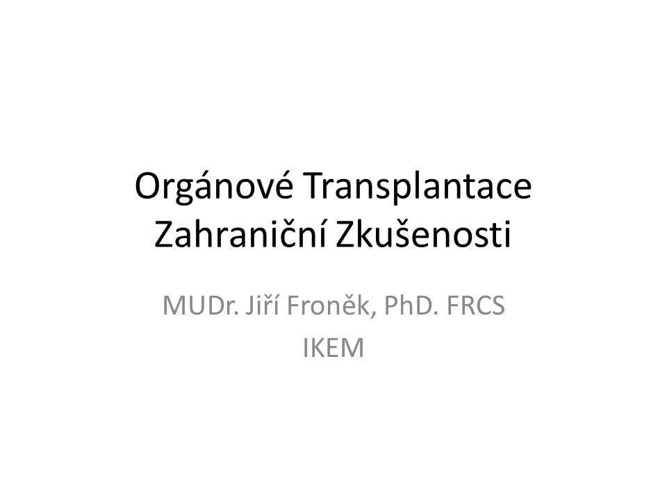 Orgánové transplantace – dle orgánů Ledviny Jater Slinivky břišní Langerhansových ostrůvků Tenkého střeva Multiviscerální Srdce Plic