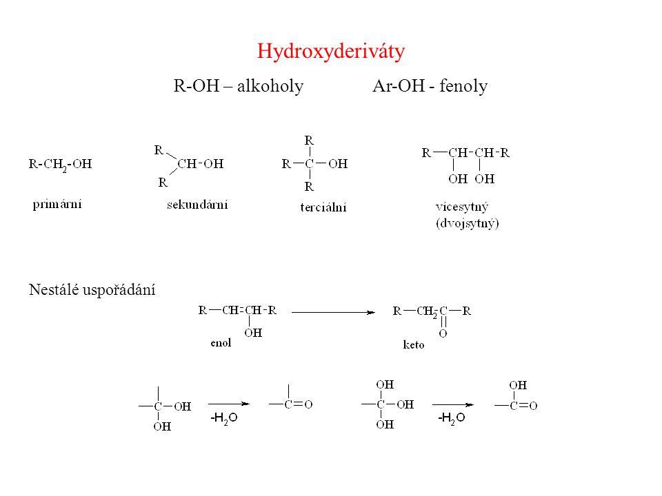 Příprava alkoholů 1)Hydrolýzou (S N ) 2) Redukcí C=O 3) Hydratace nenasycených uhlovodíků (viz.