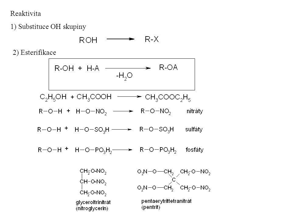3) oxidace Oxidační činidlo, např.KMnO 4 /H + nebo K 2 Cr 2 O 7 /H + 4) Eliminace OH skupiny (viz.