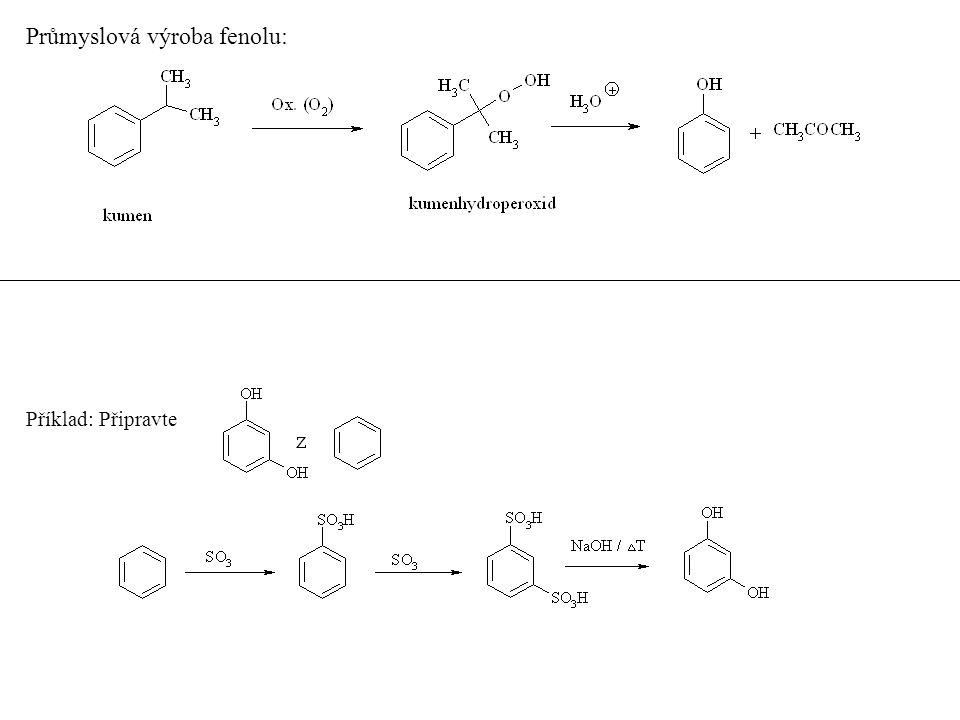 Vlastnosti a reaktivita Všechny jsou pevné látky vysokého bodu varu, hůře rozpustné ve vodě, silnější kyselinou než voda – tvoří soli -fenoláty (fenoxidy) Příklad: srovnejte kyselost těchto fenolů (s ohledem na substituci v aromatickém jádře) 1.