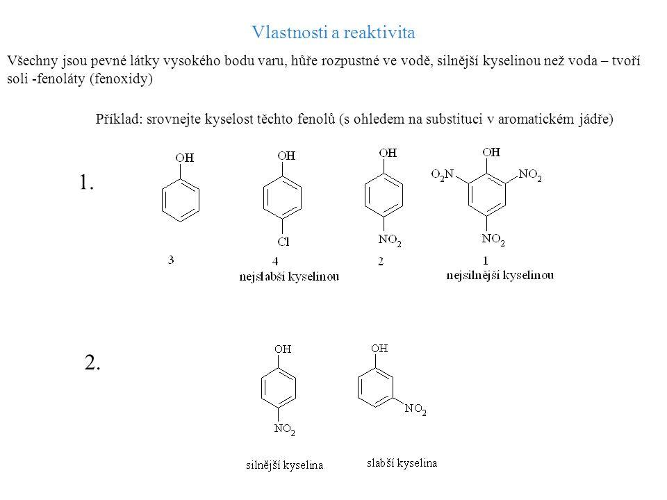Reaktivita – 1) OH skupiny: obdobně jako u alkoholů – tvorba fenolátů, etherů, esterů 2) Aromatického jádra: OH – substituent I.