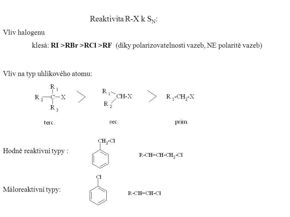 SN1SN1 Mechanizmus nukleofilních substitucí Směs dvou konfigurací S N 1- -typický pro terc.
