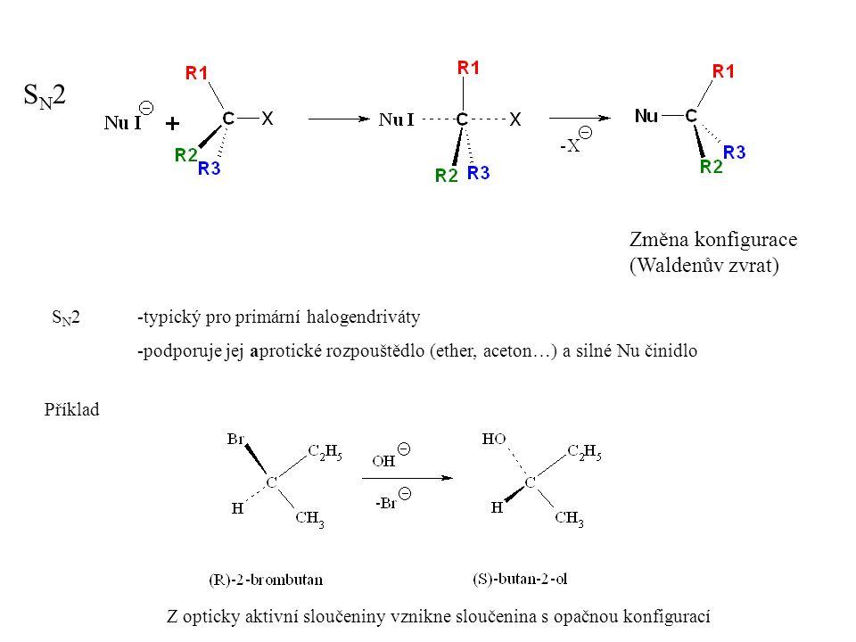 Hlavní reakce R-X Substituci konkuruje eliminace, zvlášť u sekundárních a terciálních halogenderivátů