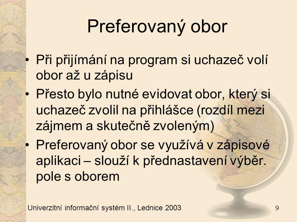 10 Univerzitní informační systém II., Lednice 2003 Hromadné dohledání Některé číselníky mají řádově tisíce hodnot (např.