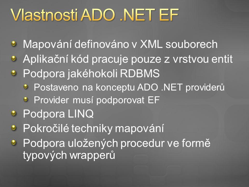 Mapování je vyjádřeno 3 XML soubory CSDL Popis konceptuálního modelu SSDL Popis úložiště (DB) MSL Popis mapování mezi úložištěm a konceptuálním modelem