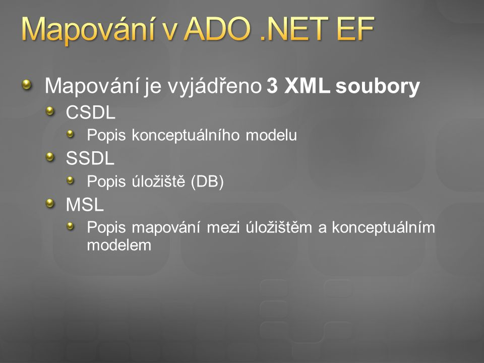 Ve VS 2008 práce pouze se soubory *.edmx Použití vizuálního designéru Při kompilaci vytvoření CSDL, SSDL, MSL souborů Možnosti uložení mapovacích souborů Embedded resource Přímo v aplikační složce