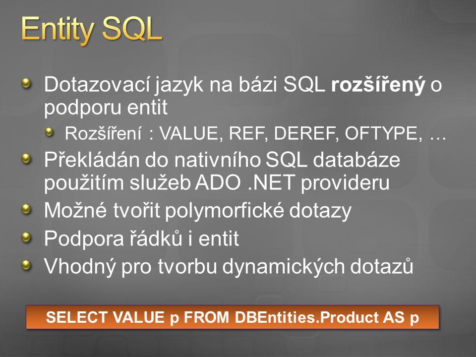 Namespace System.Data.EntityClient Pro čtení dat EntityDataReader Implementace čtení se liší na základě eSQL dotazu (řádek, entita, reference, …) EntityConnection connection = new EntityConnection( name=EntityFrameworkDBEntities ); string eSql = SELECT VALUE p FROM EntityFrameworkDBEntities.Product as p ; connection.Open(); EntityCommand command = connection.CreateCommand(); command.CommandText = eSql; EntityDataReader reader = command.ExecuteReader(CommandBehavior.SequentialAccess); while (reader.Read()) { Console.WriteLine(reader[ name ]); } connection.Close(); EntityConnection connection = new EntityConnection( name=EntityFrameworkDBEntities ); string eSql = SELECT VALUE p FROM EntityFrameworkDBEntities.Product as p ; connection.Open(); EntityCommand command = connection.CreateCommand(); command.CommandText = eSql; EntityDataReader reader = command.ExecuteReader(CommandBehavior.SequentialAccess); while (reader.Read()) { Console.WriteLine(reader[ name ]); } connection.Close();