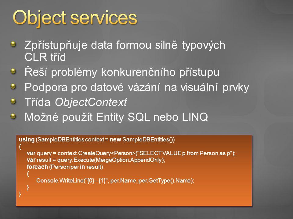 Implementace přístupu k datům pomocí Object services