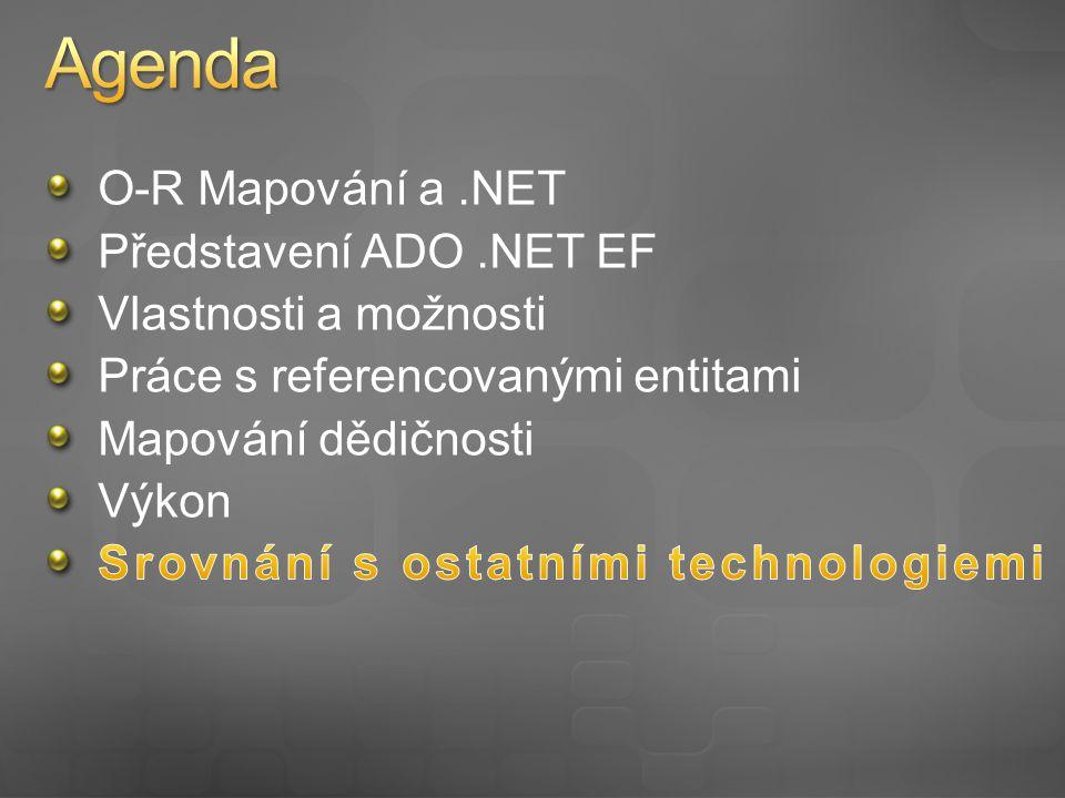 ADO.NET EF + Mapování v XML Nezávislost na DB Bohatší možnosti mapování Dědičnost Asociace M:N Více tabulek do entity LINQ to SQL + Jednodušší na použití Podpora lazy-loading pro asociované entity Podpora lazy-loading pro jednotlivé vlastnosti entity