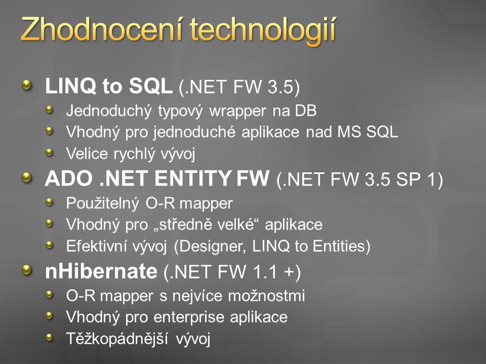 O-R Mapování a.NET Představení ADO.NET EF Vlastnosti a možnosti Práce s referencovanými entitami Mapování dědičnosti Výkon Srovnání s ostatními technologiemi