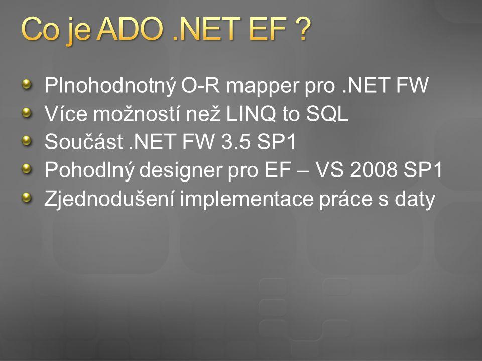 Mapování definováno v XML souborech Aplikační kód pracuje pouze z vrstvou entit Podpora jakéhokoli RDBMS Postaveno na konceptu ADO.NET providerů Provider musí podporovat EF Podpora LINQ Pokročilé techniky mapování Podpora uložených procedur ve formě typových wrapperů