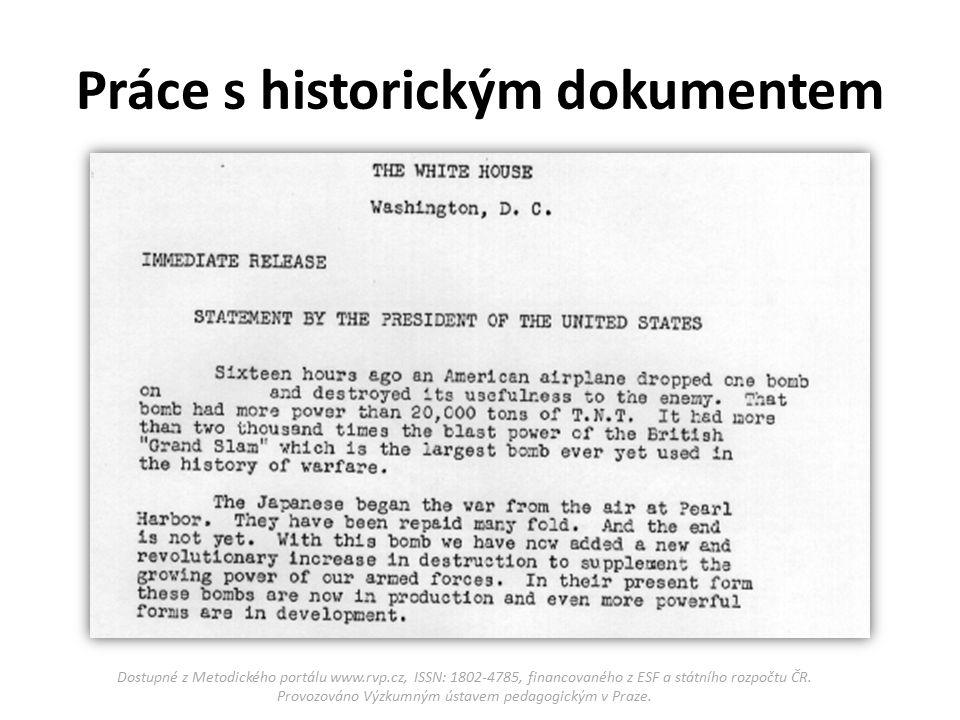 """Opoznámkujte dokument - např.takto: """"Japonci začali válku bombardováním Pearl Harboru."""