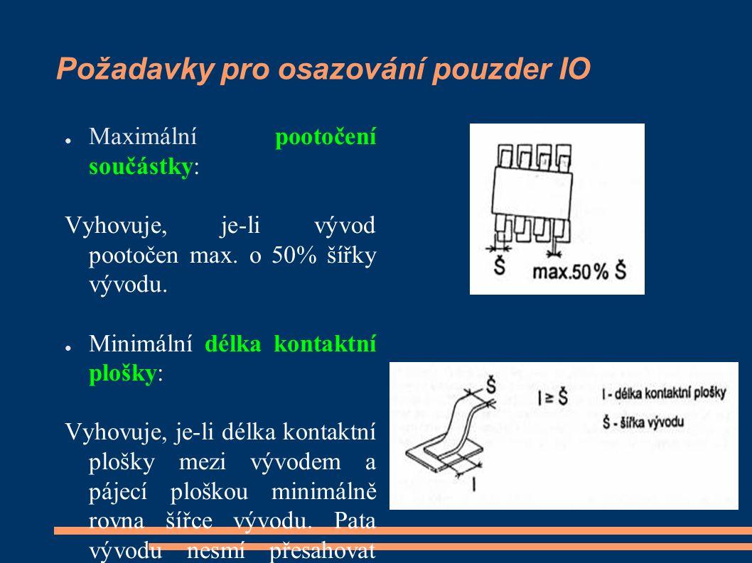Požadavky pro osazování pouzder IO ● Maximální zvednutí součástky: Vyhovuje, je-li zvednutí vývodu nad pájecí ploškou maximálně rovno trojnásobné tloušťce vývodu nebo 0,5mm.