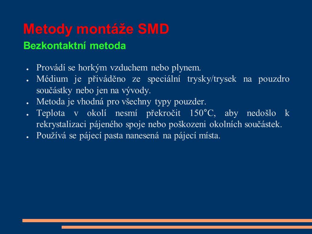 Metody montáže SMD Bezkontaktní metoda ● Pro spolehlivý proces je nutno dodržovat pracovní postup s použitím správných hrotů a nástavců s odpovídajícími pracovními teplotami nástrojů a dobou teplotního působení.