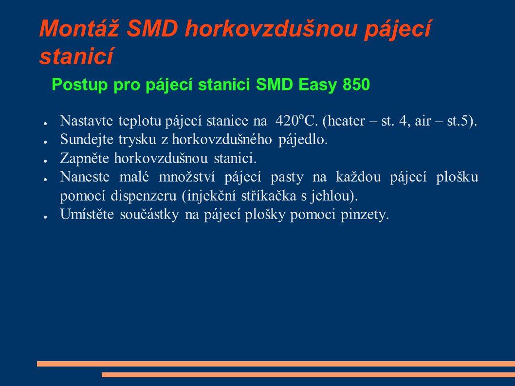 Montáž SMD horkovzdušnou pájecí stanicí Postup pro pájecí stanici SMD Easy 850 ● Směřujte horký vzduch přes součástku ze vzdálenosti asi 2,5cm tak, aby došlo k předsušení pájecí pasty.
