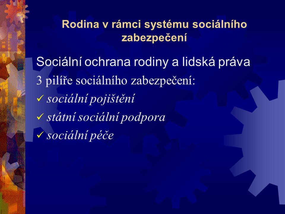 Dávkové systémy Systém dávek státní sociální podpory Systém dávek sociální péče Životní minimum