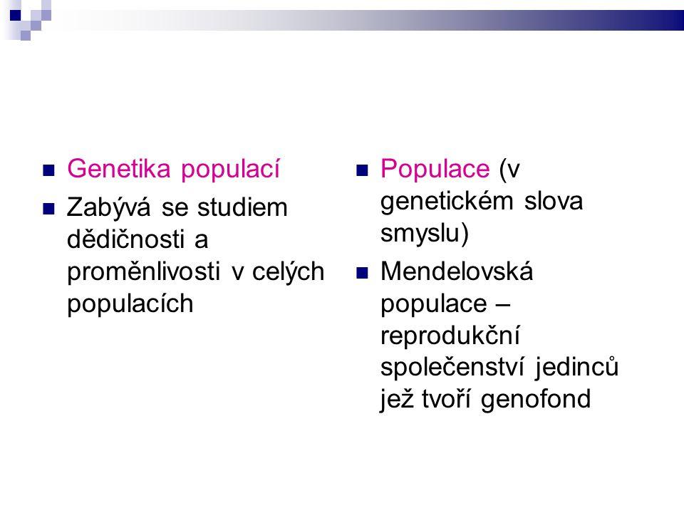 Genofond Soubor genů dané populace Pojmy: gen, alela, genom, genotyp M.