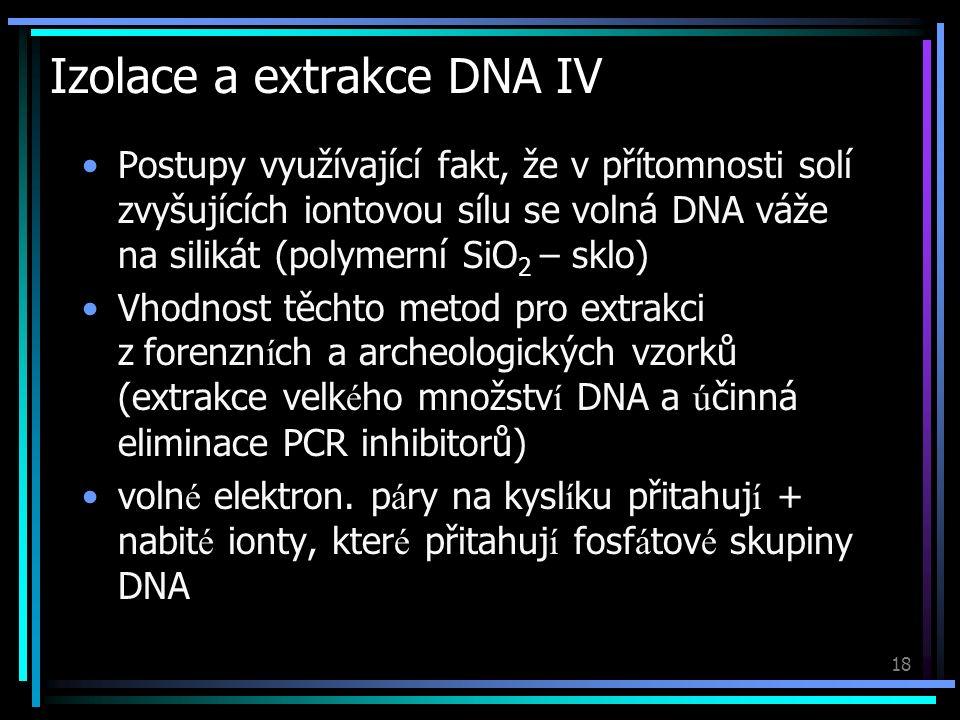 19 Amplifikace DNA I Namnožení úseků DNA PCR (Polymerase Chain Reaction) Řízené kopírování DNA v laboratorních podmínkách Templátová DNA (vzorek k amplifikaci) Primery (krátké specifické úseky DNA) Volné stavební jednotky DNA (A, C, G, T) Termostabilní DNA-polymeráza (Taq, Pfu) PCR pufr a soli (KCl, MgCl 2 )