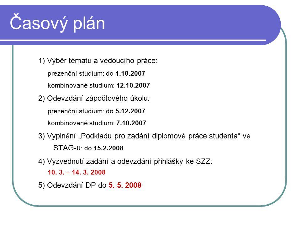 Časový plán 6) Státní závěrečné zkoušky: - 26.5. – 6.