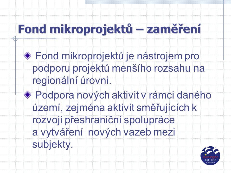 Fondmikroprojektů - zaměření Fond mikroprojektů - zaměření oblast rozvoje mezilidských přeshraničních vztahl, společenských, osvětových a kulturních aktivit.