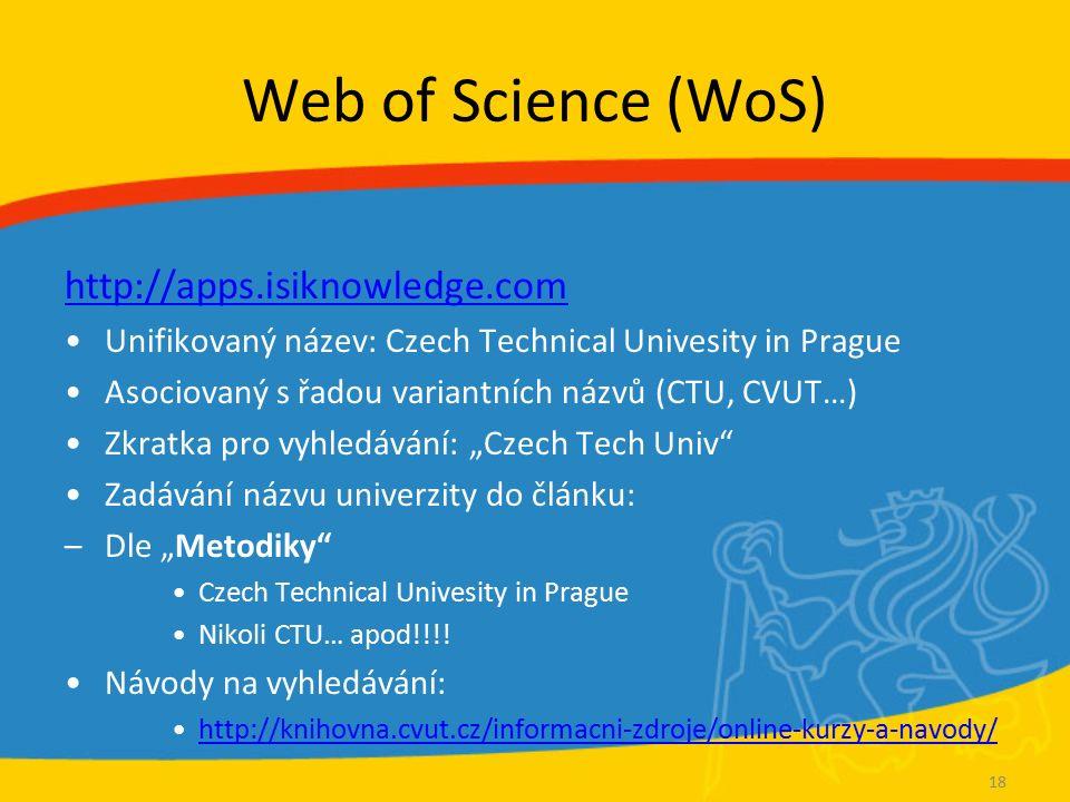 WoS Vyhledávání Příklad: hledám články doc.