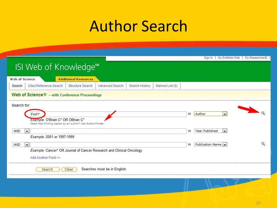 WoS Další možnosti vyhledávání Cited reference search –Hledá všechny články, které citují konkrétního autora / časopis Structure search –Vyhledávání chemických vzorců Zástupné znaky: –* – libovolný počet znaků –.