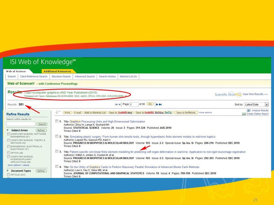 """WoS Zobrazení záznamu Cited by –Záznamy článků, které tento článek citovaly –Lze vytvořit """"Citation alert – automatické upozornění pokaždé, když je daný článek citován Related records –Články, které citují stejné zdroje References –Bibliografie daného článku (zdroje, které článek cituje) Additional information –Impakt faktor zdrojového časopisu Export záznamu 26"""