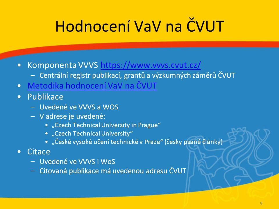 Ukazatele pro hodnocení V&V impakt faktor (IF) –hodnotí časopis h-index –hodnotí autora, instituci další (doplňkové, upřesňující) ukazatele –viz http://knihovna.cvut.cz/veda/hodnoceni-vavai/metriky-vav.html http://knihovna.cvut.cz/veda/hodnoceni-vavai/metriky-vav.html
