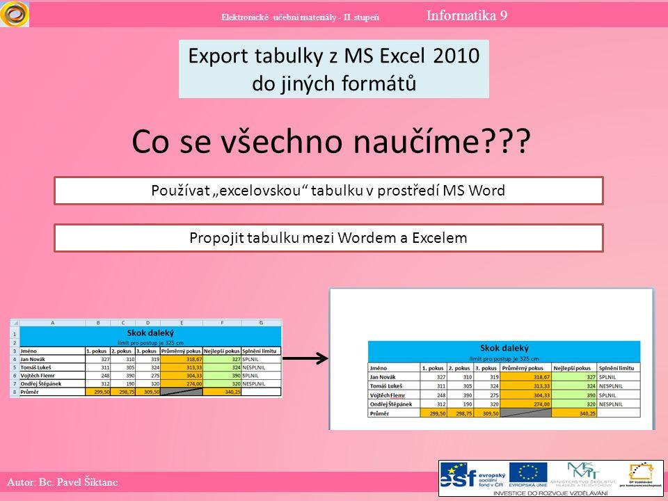 Elektronické učební materiály - II.stupeň Informatika 9 Co už umíme.