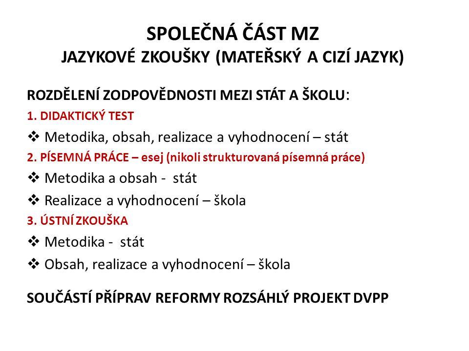 SPOLEČNÁ ČÁST MZ - volitelná zkouška ROK 2010 a 2011 (náběhová fáze) jako 2.