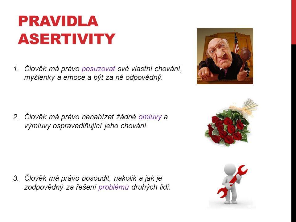 PRAVIDLA ASERTIVITY 4.Člověk má právo změnit svůj názor.