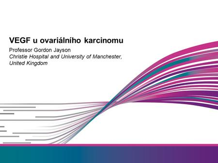 Professor Gordon Jayson Christie Hospital and University of Manchester, United Kingdom VEGF u ovariálního karcinomu.