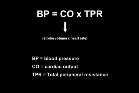 BP = CO x TPR BP = blood pressure CO = cardiac output TPR = Total peripheral resistance (stroke volume x heart rate)