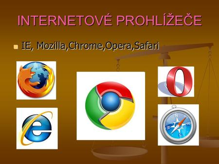 INTERNETOVÉ PROHLÍŽEČE IE, Mozilla,Chrome,Opera,Safari IE, Mozilla,Chrome,Opera,Safari.