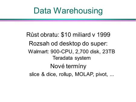 Data Warehousing Růst obratu: $10 miliard v 1999