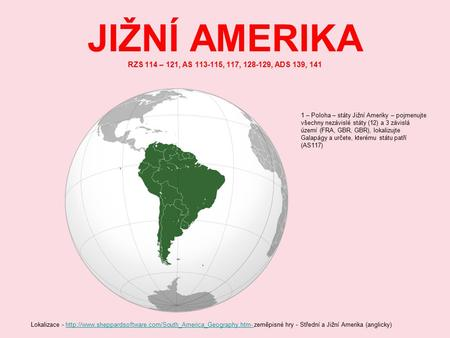 JIŽNÍ AMERIKA RZS 114 – 121, AS , 117, , ADS 139, 141