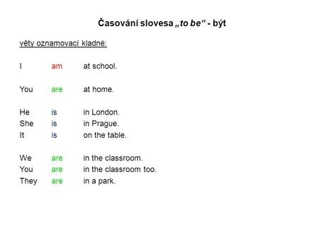 "Časování slovesa ""to be"" - být věty oznamovací kladné: I amat school. Youareat home. Heisin London. Sheisin Prague. It is on the table. Wearein the classroom."
