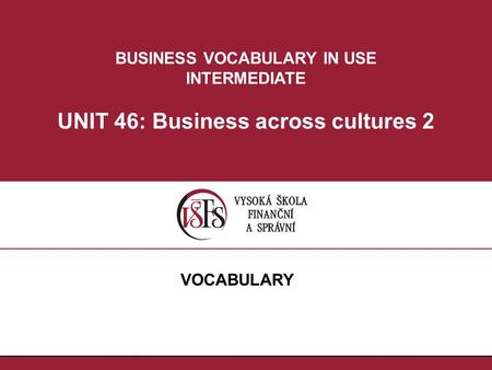 BUSINESS VOCABULARY IN USE INTERMEDIATE UNIT 46: Business across cultures 2 VOCABULARY.