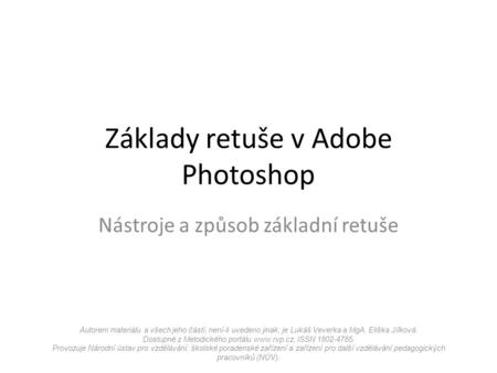 Základy retuše v Adobe Photoshop